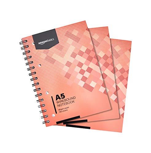 Amazon Basics - Quaderno con rilegatura a spirale, 200 pagine, formato A5, 80 g/m², (confezione da 3)