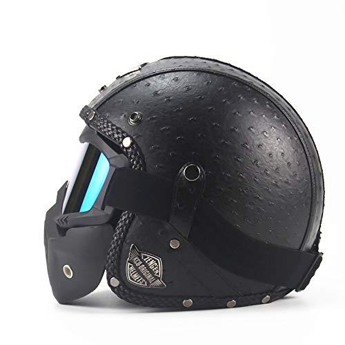 SXC Jethelm Motorradhelm, Moto Helmets Jet-Helm, Leder 3/4 Retro Jethelm für gebundenes Training Mountain Road Highway Biker Cruiser Chopper, DOT-Zertifiziert