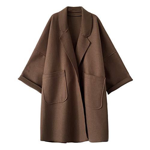 Gaowen Women Warm Cashmere Trench Coat Long Sleeve Cardigan Casual Contour Shape Loose Sweater Tops (Brown, S)