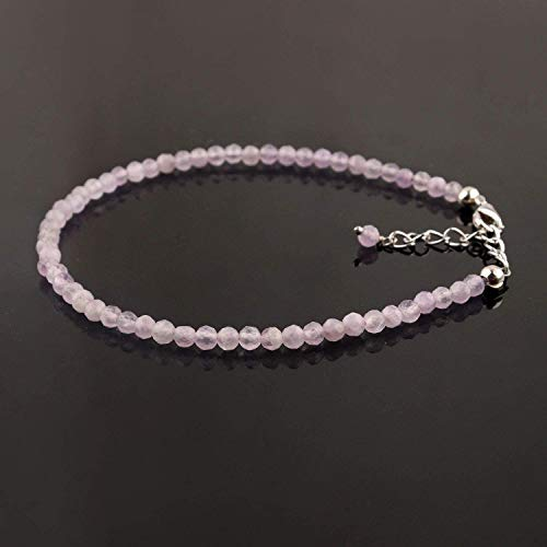 Natural Lavender Quartz Crystals Beads Dainty Bracelet Rhodium Plated 925 Silver Handmade Jewelry Gemstone Birthstone Gift for her Chakra Healing Crystals in 8 inch, Mothers Day Gift