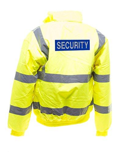 Workwear World WW153 - Distintivo Riflettente di Sicurezza Stampato Portiere Bouncer Sia Sito ad Alta visibilità, Bomber Cappotto Giallo S