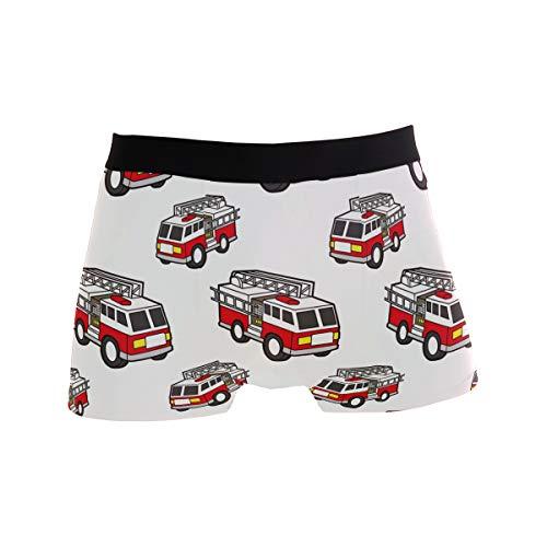 BONIPE Cartoon Feuerwehr Muster Boxer Briefs Herren Unterwäsche Jungen Stretch Atmungsaktiv Low Rise Trunks S Gr. L, mehrfarbig