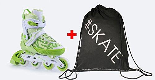 Spokey Turis Inline Skates + Ultrapower Beutelrucksack | Verstellbar | Sport | Outdoor | Roller | Rollerskates | Rollschuhe, Größe/Size:33-36, Farben:Grün - Weiß