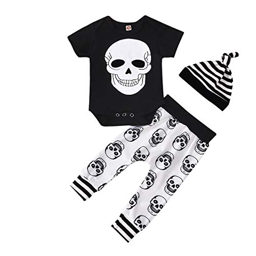 Halloween Toddler Baby Girl Clothes 2PCs Outfit Set Skull T-Shirt and Floar Pants Kids Clothes (White, 18-24 Months)