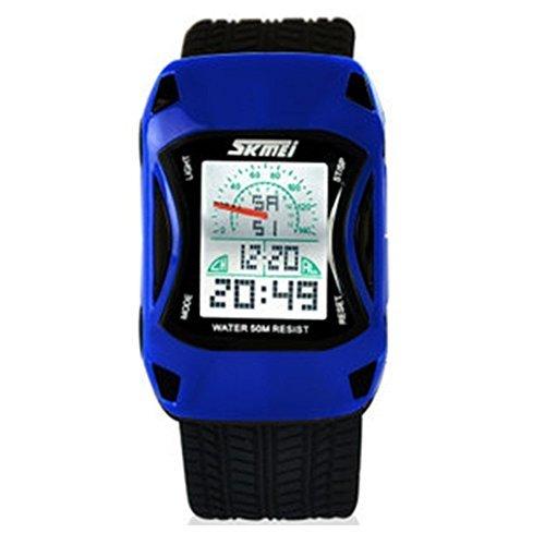 Moda colorida luz Coche deportivo estilo impermeable Pantalla LED Relojes de pulsera. Color azul