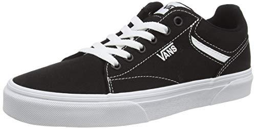 Vans Tênis de Cano Baixo Feminino, Lona preta e branca 187, 7.5
