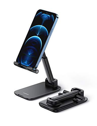 UGREEN Soporte Móvil, Soporte Teléfono Movil Mesa Plegable Atril Movil Mesa Multiángulo Soporte Smartphone Universal para iPhone 12/12 Pro MAX/ 11/8, Xiaomi Poco X3 Pro, Samsung S21/ Note 10(Negro)