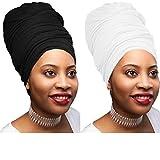 Novarena 30 Solid Colors Soft Stretch Headwraps Headband Long Hair Head Wrap Scarf Turban Tie Jersey Knit African head wraps (2 Pcs Black & White)