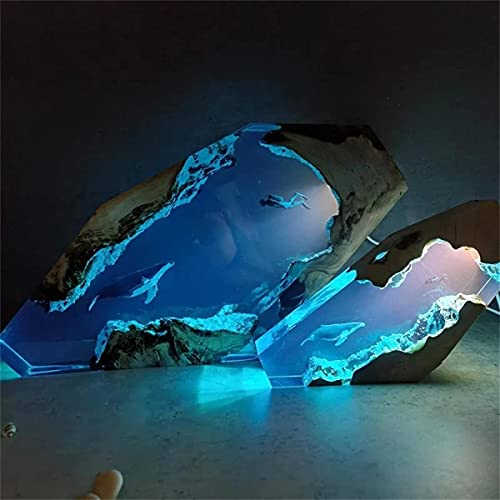 Gran lámpara de luz de madera de resina epoxi, lámpara de mesa océana, lámpara de escritorio para buceo creativo y ballena, luz nocturna de mar 4D, molde de resina de silicona LED (S+L)