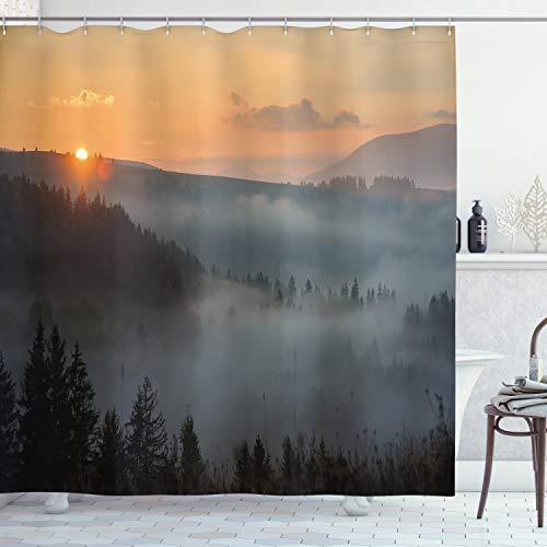 "Ambesonne Nature Shower Curtain, Morning at Foggy Mountain Range Sunrise Pine Tree Forest Dramatic Misty Sky Scenery, Cloth Fabric Bathroom Decor Set with Hooks, 70"" Long, Misty Grey"