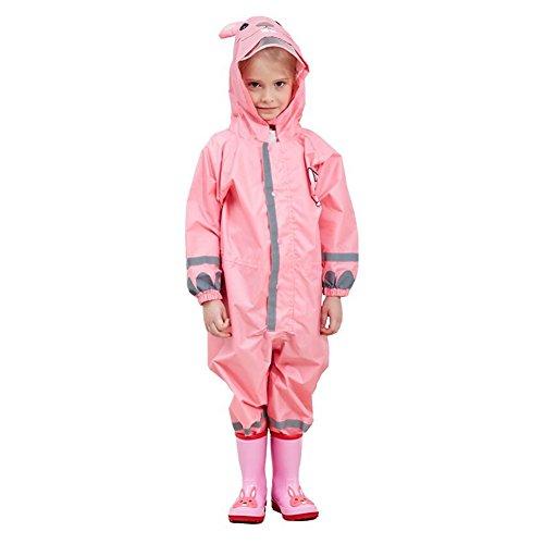 gagacity Kinder Jungen Mädchen wasserdicht alle in einem Kapuzen Regenanzug mit 3D Cartoon Form für Outdoor Play Pink Rabbit/S