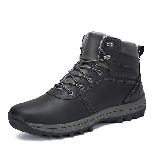 AFT AFFINEST Mens Snow Boots Waterproof Outdoor Hiking Shoes Ankle Sneakers(Black-B,42)