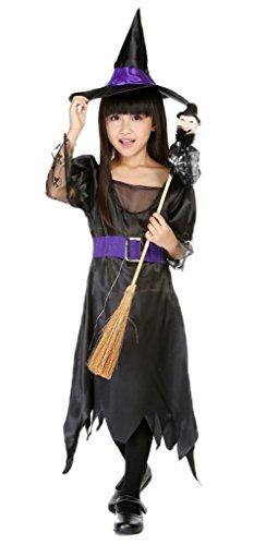 Bigood Costumes Déguisement Cosplay Princesse Sorcière Enfant Fille Halloween M