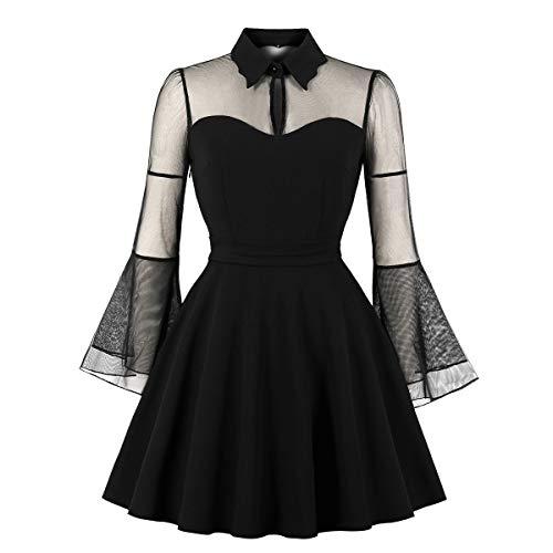 Wellwits Women's Keyhole Mesh Bell Long Sleeve Knee Swing Cocktail Dress S Black