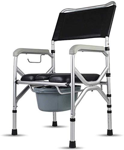 Nuokix La cómoda silla de ruedas Silla de WC con el brazo, portátil plegable de altura ajustable Bidé Ducha Bañera Silla for mujeres embarazadas minusválidos personas mayores Apto para personas mayore