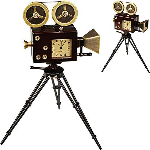 alles-meine.de GmbH kleine - Tischuhr / Miniatur - Uhr - Filmkamera - Kamera - aus Metall - 14 cm - batteriebetrieben - Analog - Batterie - schwarz - Zahlen Stehuhr / Standuhr - ..