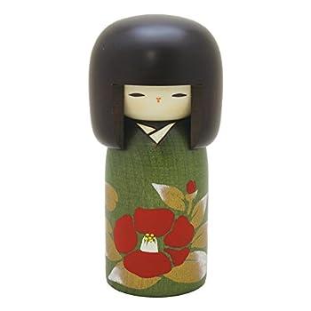 Usaburo Japanese Kokeshi Wooden Doll Camellia Green Kimono