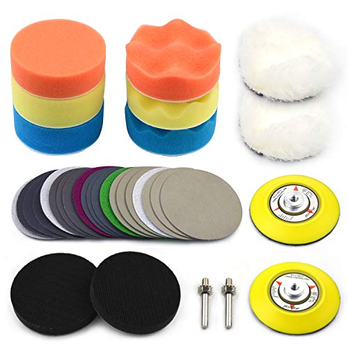 POLIWELL 3 Inch Car polishing Sanding Discs & Buffing Sponge Pads Kit with 1/4 inch Shank Backing Pad + Soft Interface Pad + Woolen Buffer Pads for Sanding Polishing Waxing, Total 34PCS
