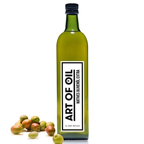 Olivenöl 1 Liter von ART OF OIL | Kurzes MHD | Olivenöl Nativ Extra aus Spanien | Fruchtig mildes Olivenöl in Designer Olivenöl Flasche