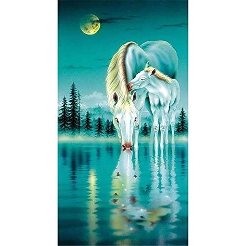 DIY 5D Pintura diamante Kits Caballo Blanco Animal Completo Crystal Diamantes de imitación Diamond painting Adulto Bordado de punto de cruz Canvas de Home dormitorio Wall Decor regalo 30x60cm