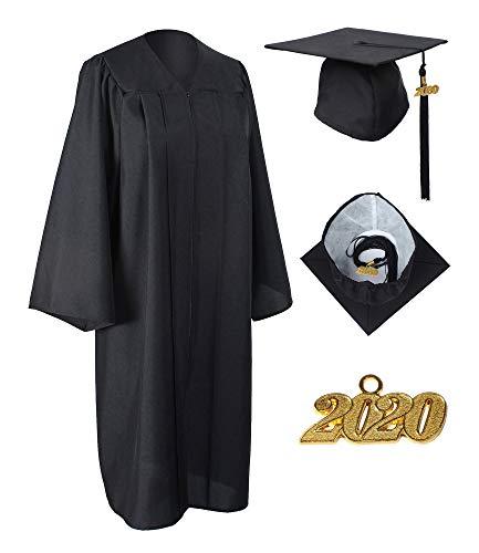 GraduationService Matte Gown Cap Tassel 2017 + 2018 Unisex Black 48''(5'3''-5'5'')