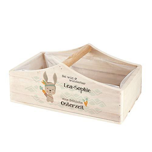 Herz & Heim® Osternest Pflanzkiste mit Gravur oder Druck - Osterkörbchen Osterhase Indianer