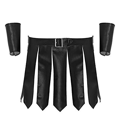 moily Men's PU Leather Roman Wrestling Singlet Costume 3Pcs Split Skirts with Belt and Wristbands Black Large