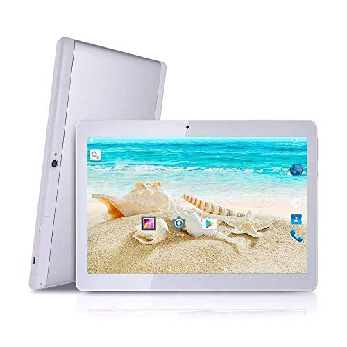 Tablets, Android 9.0 OS Tablet 10 Inches, 3G WiFi Unlocked Tablet with Dual SIM Card Slots 4GB RAM 64GB ROM Quad Core Processor Support Netflix Youtube Bluetooth Phone Call GPS FM(Silver)