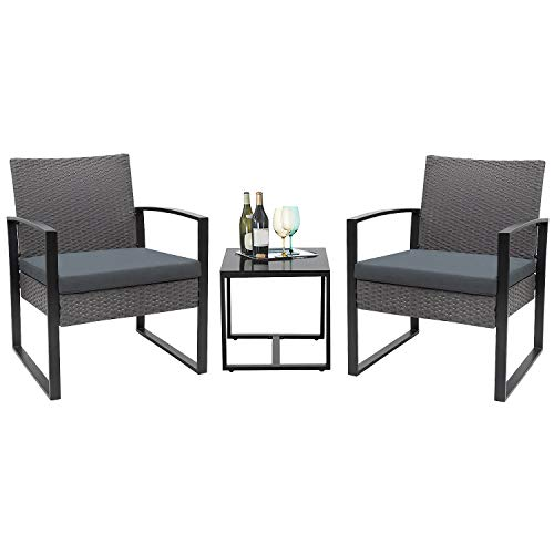 Flamaker 3 Pieces Patio Set Outdoor Wicker Patio Furniture Sets Modern Bistro Set Rattan Chair Conversation Sets with Coffee Table for Yard and Bistro (Grey and Grey)