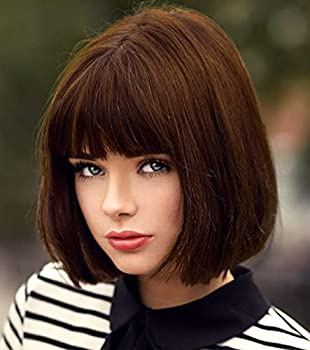 Bopocoko Short Brown Wigs for Women 12   Brown Bob Hair Wig with Bangs Natural Fashion Synthetic Full Wig Cute Colored Wigs for Daily Party Cosplay Halloween BU027BR