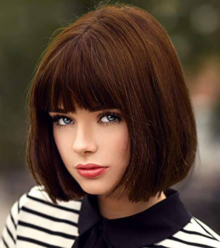 Bopocoko Short Brown Wigs for Women, 12'' Brown Bob Hair Wig with Bangs, Natural Fashion Synthetic Full Wig, Cute Colored Wigs for Daily Party Cosplay Halloween BU027BR