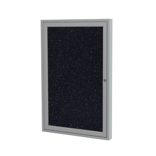 """Ghent 3""""x2"""" 1-Door indoor Enclosed Recycled Rubber Bulletin Board, Shatter Resistant, with Lock, Satin Aluminum Frame, Confetti ( PA132TR-CF) ,Made in the USA"""