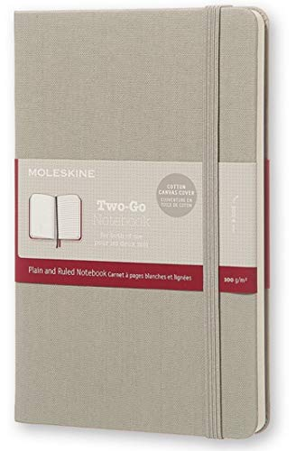 Moleskine Two-Go Composition Notebook, Plain and Ruled - Gray