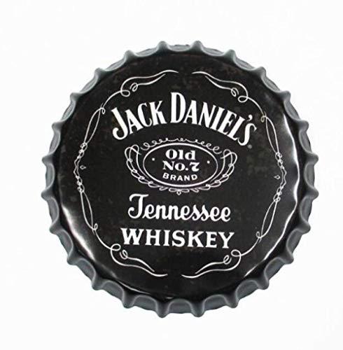 Decoración de placa de metal Anillo de 35 cm Madera Antigua cervecería Tapa de botella de cerveza redonda Cartel de chapa vintage Bar Pub Inicio Decoración de pared Cartel de arte de metal retro Placa