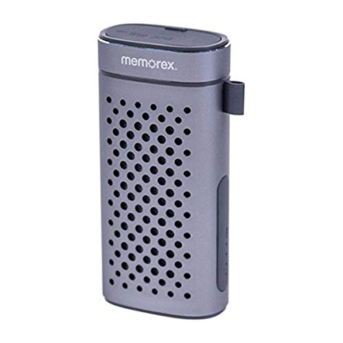 Portable Bluetooth Speaker + Built-in 4400mAh USB Power Bank, Aux Input, Hands Free Speaker Phone Gunmetal Gray Memorex FlexBeats MWB3363
