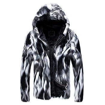 Landscap Jacket Fashion Mens Winter Warm Thick Coat Jacket Faux Fur Outwear Cardigan Overcoat Gray,XXXXL