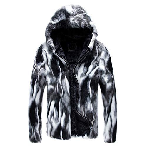 Landscap Jacket Fashion Mens Winter Warm Thick Coat Jacket Faux Fur Outwear Cardigan Overcoat(Gray,XXXXL)