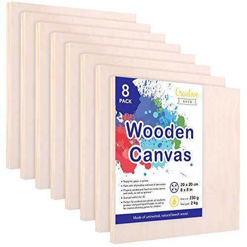 Creative Deco Pannelli di Legno per Pitturare | Set di 8 Pezzi | 20 x 20 cm | Travola Canvas Tela di Compensato | Ideale per Una Grande varietà di Progetti Artistici