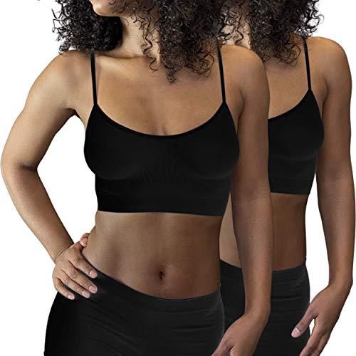 Soutien-Gorge sans Couture Femme - Brassi貥 Sport Bretelles Fines en Microfibre Stretch - Ultra Doux et Confortable - Lot de 2,M,Noir