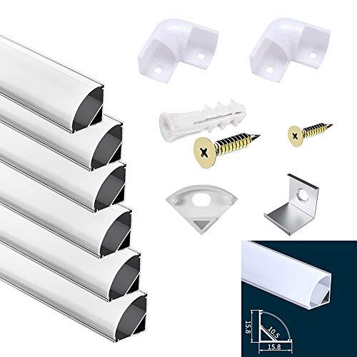 Discra 6PCS *1M LED Profil, LED Aluminium Profil V Form mit Abdeckung, Endkappen und Montageclips für LED-Streifen Lichter,für LED,Endkappen, und Montagematerial