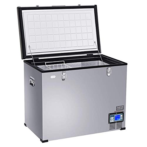 COSTWAY Chest Freezer, 121-Quart Compressor Travel Car Freezer, -0.4°F to 50°F, Portable and Compact Vehicle Electric Cooler Fridge, for Meat, Vegetable and Drinks, for Car, Home, Camping, Truck Party