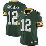 WQJIE T-Shirt à Manches Courtes pour Hommes Chemise Uniforme de Football Green Bay Packers 12# Aaron Rodgers Maillots de Rugby Uniformes T-Shirts Green-M