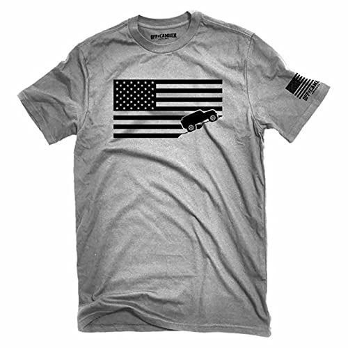 American Flag Offroad Shirt Ash Gray Made in USA t-shirt Perfect for 4x4 owners