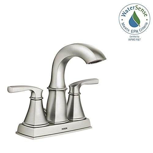 MOEN Hensley 4 in. Centerset 2-Handle Bathroom Faucet Featuring Microban Protection in Spot Resist Nickel
