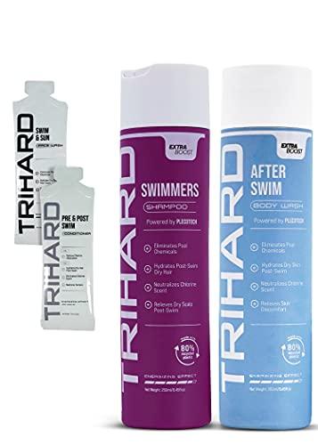 TRIHARD Swimmers Shampoo Extra Boost + After-Swim Body Wash Extra Boost   Specialized Swim Shampoo   Chlorine Removal Body Wash