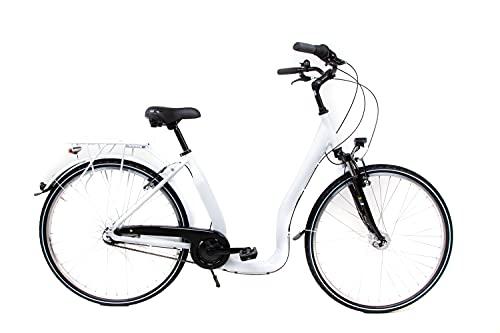 28 Zoll Alu Fahrrad City Bike Damen 7 Gang Nabenschaltung Tiefeinsteiger Piano Weiss