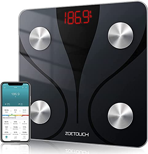 ZOETOUCH Body Fat Scale with iOS and Android App, Smart BMI Scale Digital Wireless Bathroom Weight Scale, Body Composition Monitor Analyzer - Black