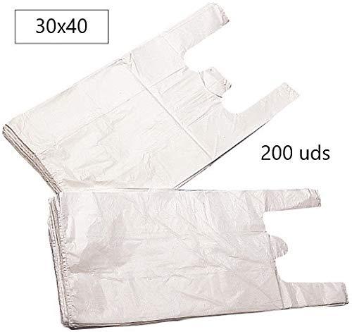 EUROXANTY® Bolsas de Plástico Tipo Camiseta | Alta resistencia | Reutilizables y Reciclables | Material Polietileno de Alta Densidad | Con Asas | Apta para Alimentos (Blanco, 30 x 40-200 uds)
