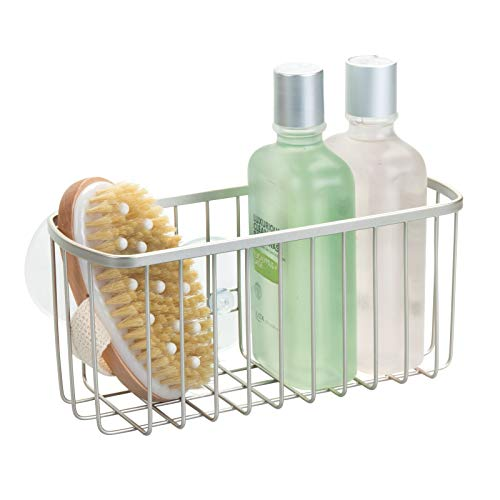 mDesign Estantería para Ducha Colgante – Repisa para baño fijada con ventosas, sin taladrar – Balda para baño Ideal para Colocar champú, Esponja, rasuradora y Otros artículos de higiene