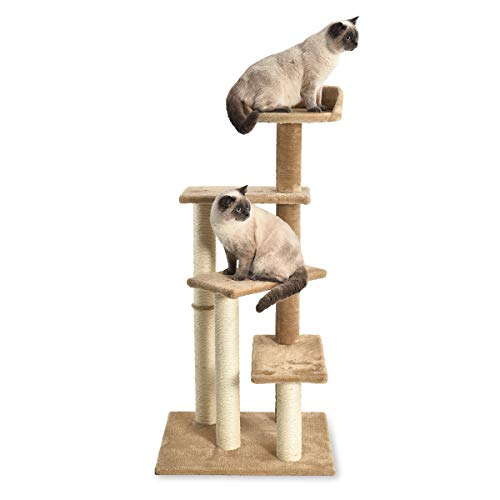 AmazonBasics – Katzen-Kratzbaum mit vielen Plattform-Stufen, 61 x 48 x 124 cm, dunkelbeige